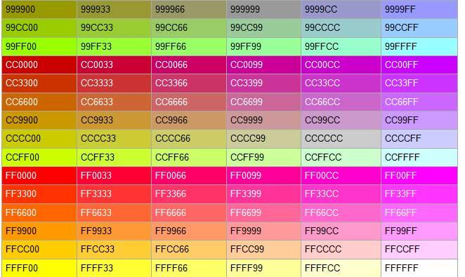 css color code list pdf