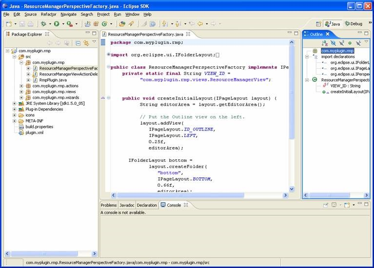 outilne view to display Java resource