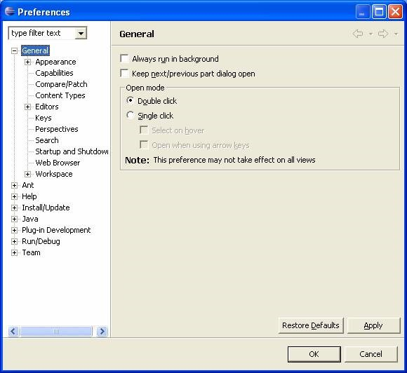 Eclipse preference dialog