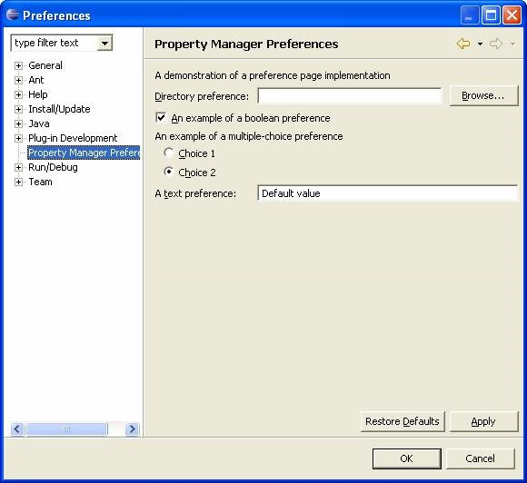 Eclipse Plugin Property Manager Preferences.
