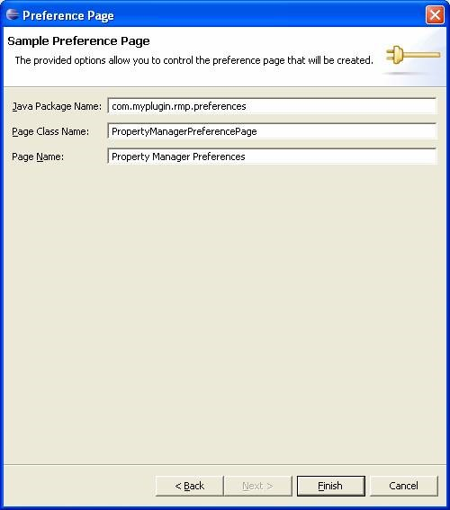 Eclipse Plugin Sample Preference Page.