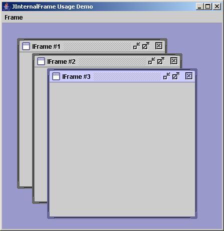 Java JInternalFrame class example | Wideskills