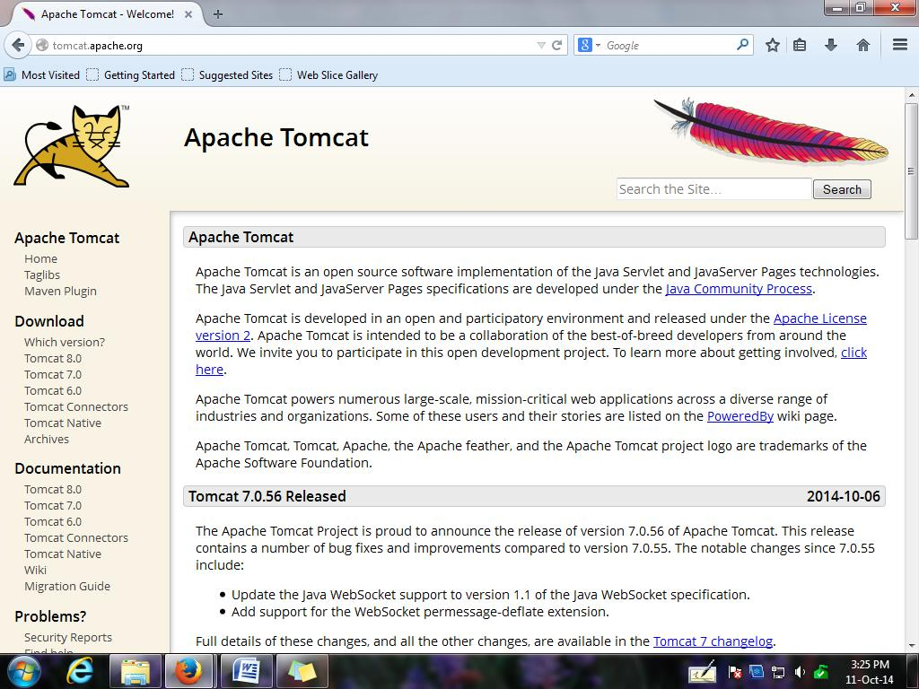 Snapshot: Apache Software Foundation website (to download current version of Tomcat web server)