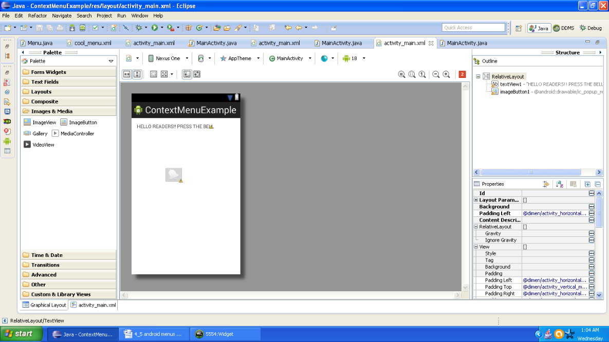 Graphical layout of Android context Menu example