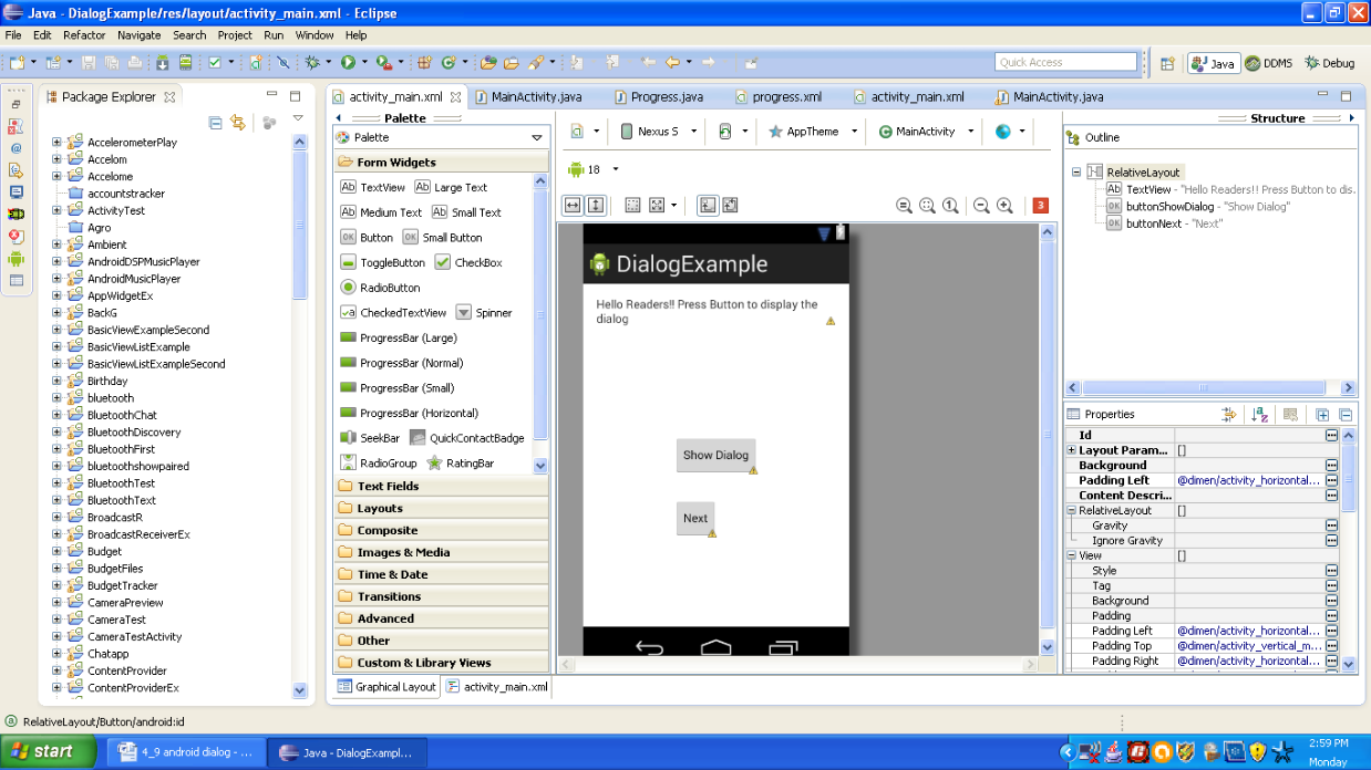 Graphical layout of Android Dialog Application