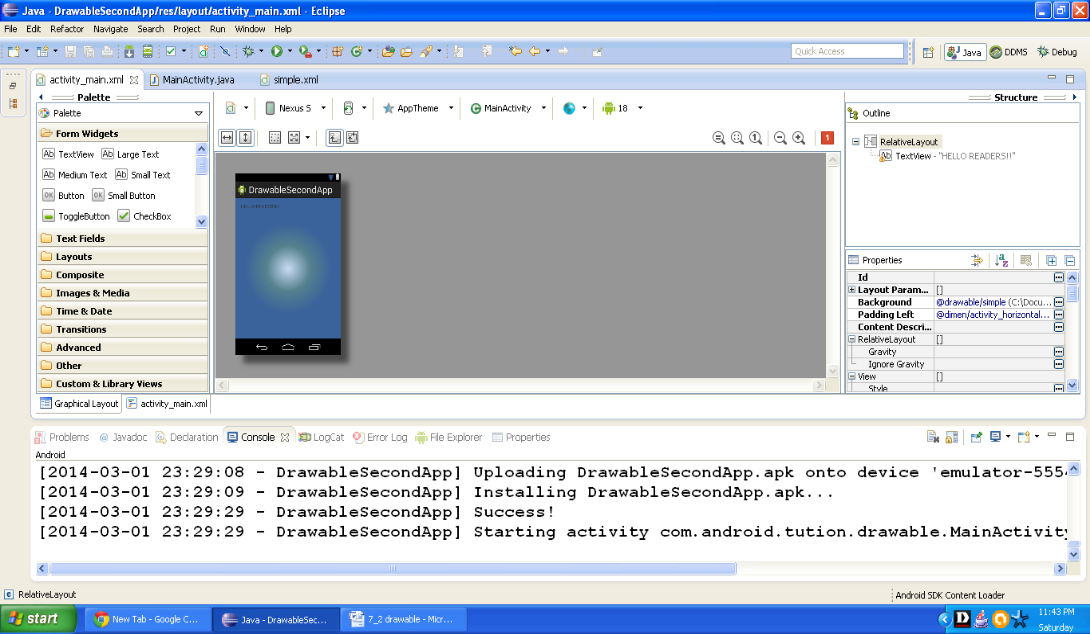 Graphical layout of Android Drawable example