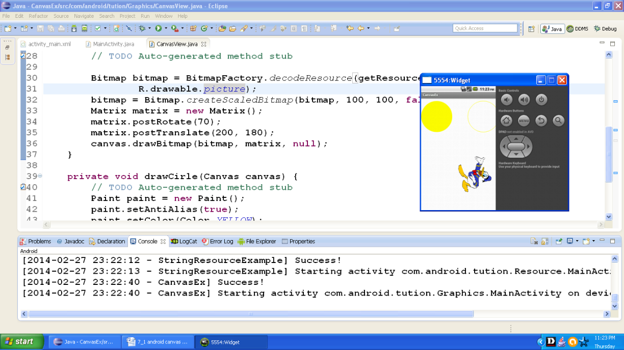 Draw with a Canvas in Android   Android Programming by Wideskills